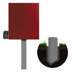 MOCAVI Briefkasten Standbriefkasten mit Zeitungsfach rubin-rot (RAL 3003) MOCAVI SBox 111b Briefkasten mit Pfosten (einbetonieren)