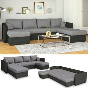 VICCO XXL Ecksofa mit Schlaffunktion Grau Wohnlandschaft Taschenfederkern Couch