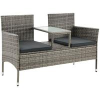 Juskys Polyrattan Gartenbank Monaco grau-meliert - 2-Sitzer Bank mit Tisch & Kissen - 133×63×84 cm