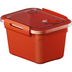 Rotho MEMORY Mikrowellen-Dose, Mikrowellen-Behälter zum Aufwärmen, Transportieren oder Frischhalten, Füllmenge: 850 ml, 150 x 120 x 95 mm, PAPAYA rot