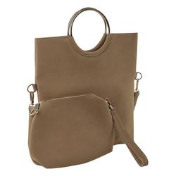 Tasche mit Umschlag und Ringhenkel braun