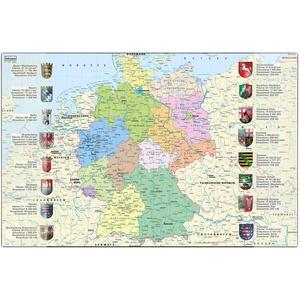 Idena 10448 - Schreibtischunterlage mit zwei Einstecktaschen, Deutschlandkarte, ca. 58,5 x 38,5 cm groß, praktisches Zubehör für Kinder-, Jugend- und Arbeitszimmer