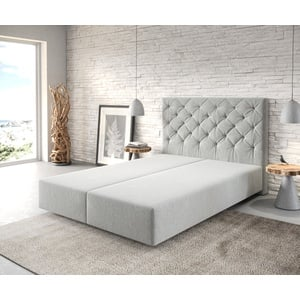 DELIFE Boxspringgestell Dream-Great 140x200 Mikrofaser Silbergrau, Boxspringbetten