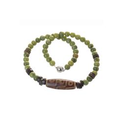 Bella Carina Perlenkette Kette mit Jade und Achat dzi style, mit Jade 50