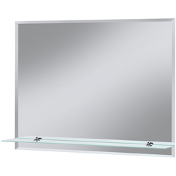 welltime Badspiegel Flex, 80 x 60 cm, mit Glasablage und Facettenschliff