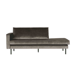 Sofa Recamiere in Taupe Samtbezug