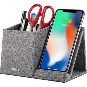 Lecone Kabelloses Ladegerät mit Organizer, Induktions-Ladegerät aus Stoff, 10 W, Schnellladung, Qi-zertifiziert, für iPhone 11/XS MAX/XR/XS/X/8/SE 2020, Samsung S20/S10/S9/S9+/S8/S8+ und andere