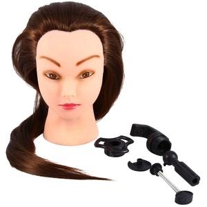 Ejoyous Übungskopf Frisierkopf Friseur 100% Synthetisches Haar Perückenkopf Puppenkopf Übungskopf Friseurkopf Ausbildung Kopf mit Halter + DIY Haar Zubehör styling Set