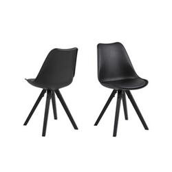 ebuy24 Esszimmerstuhl 2er Set Dry Esszimmerstuhl schwarz mit schwarzen B