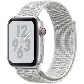 Apple Watch Nike+ Series 4 (GPS + Celllular) 40mm Aluminiumgehäuse silber mit Nike Loop Sportarmband summit white