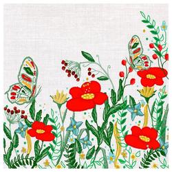 Paper+Design Papierserviette Mohnblumen, (5 St), 33 cm x 33 cm