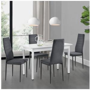en.casa Essgruppe, (Set, 5-tlg., Esstisch mit 4 Stühlen), Honningsvåg Küchentisch weiß 120x60 cm Polsterstuhl grau weiß