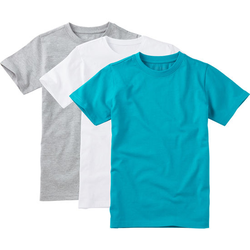 T-Shirt 3er-Pack, türkis, Gr. 140/146 - 140/146 - türkis
