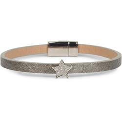 styleBREAKER Armband Schmales Armband mit Stern & Strass, Schmales Armband mit Stern & Strass grau