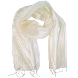 Guru-Shop Modetuch Seidentuch,Thai Schal aus Seide - weiß 160 cm