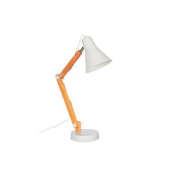 relaxdays Schreibtischlampe Schreibtischlampe Holz/Weiß