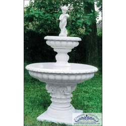 SP051 Gartenbrunnen mit 2 Wasserschalen als Kaskadenbrunnen mit Brunnenfigur 175cm