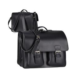 Ruitertassen Aktentasche Classic Satchel, 42 cm Lehrertasche mit 3 Fächern, auch als Rucksack zu tragen, dickes rustikales Leder schwarz