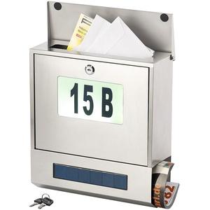 Edelstahl-Briefkasten, Solar-Leucht-Hausnummer, Zeitungsfach, 3 LEDs