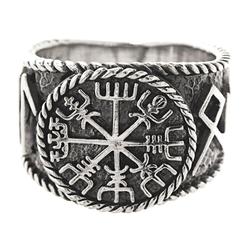 Kiss of Leather Silberring Ring Wikingerkompass Vegvisir Hail Odin Runen 925 Sterling Silber, Gr. 54-74 66 21,0