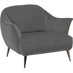 NATUZZI EDITIONS Sessel Estasi, in Leder oder Stoff mit modernen Metallfüßen grau