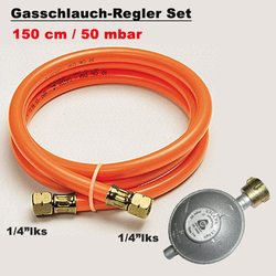 Gasschlauch Druckminderer 150cm/ 50mbar Regler Gasregler BBQ Gasgrill Druckregler