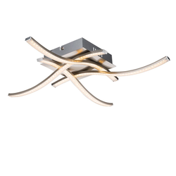 Jorne Deckenleuchte LED quadratisch, 4 dünne Arme gewellt, Kristalloptik 1200lm ...
