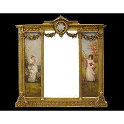 Casa Padrino Barock Spiegel Gold B. 152,5 cm x H.146,4 cm - Barock Wandspiegel