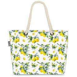 VOID Strandtasche (1-tlg), Sommer Zitronen Beach Bag Zitrone Küche Muster Obst Essen Kochen Pflanze Zitrus