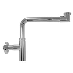 Design-Raumsparsifon DN 32 (1 1/4'') x Ø 32 mm - Messing verchromt - mit Rosette - Gewicht 1.120 g