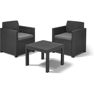 """""""Allibert by Keter"""" Balkonmöbel Set Allegro Balcony Set, graphit/cool grey, 3tlg., inkl. Sitzkissen, Kunststoff, flache Rattanoptik"""