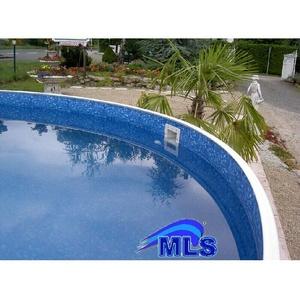 Poolauskleidung rund Poolfolien Ersatzauskleidung blau marmoriert 4.60 m x 1.10m
