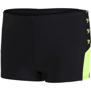 Speedo Boom Logo Splice Aqua Jungs Shorts, Schwarz/Zest Green, 7-8 Jahre