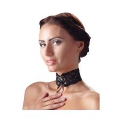 Halsband aus Spitzen mit 6 Ösen und Satinband