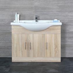 Waschtischunterschrank mit Waschtisch 1050mm - Eiche mit 2 Türen & 3 Schubladen