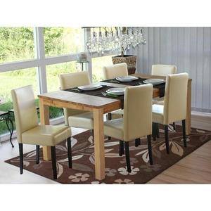 6x Stühle Kunstleder creme Esszimmerstuhl Stuhl Lehnstuhl Polsterstühle 6 Set