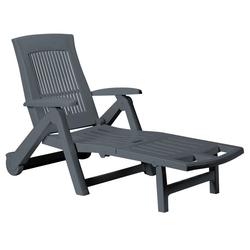 Casaria Gartenliege Gartenliege Zircone Kunststoff klappbar Rollen verstellbare Rückenlehne Gartenliege Rollliege Liegestuhl Anthrazit grau