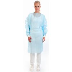 HYGOSTAR® OP-Kittel mit Bündchen, Kittel für leichten Schutz vor Flüssigkeiten, 1 Packung = 10 Stück, Farbe: blau
