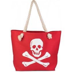 styleBREAKER Strandtasche, Strandtasche mit Totenkopf rot