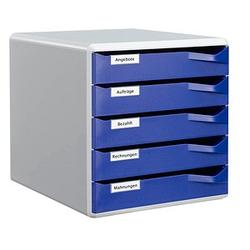 1 LEITZ Schubladenbox Post-Set blau DIN A4 mit 5 Schubladen