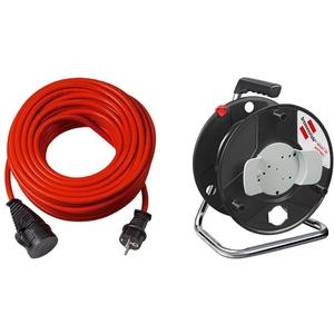 Brennenstuhl Bremaxx Verlängerungskabel (50m Kabel, für den kurzfristigen Einsatz im Außenbereich IP44) rot & Garant Aufbewahrungstrommel leer, schwarz
