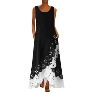 BaZhaHei Damen Langes Maxikleid mit Rundhalsausschnitt und ärmellosem Aufdruck Bohemia Beach Shirt Dress Freizeitkleid Sommerkleid Boho Party Lose Kleid (M, Weiß)