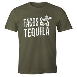 MoonWorks Print-Shirt Herren T-Shirt Tacos & Tequila Wurm Sombrero Tequilla Mexikanisch Moonworks® mit Print grün L