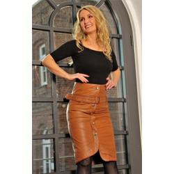 Lederrock mit hoher Taille aus Lammnappa cognac in knielang asymmetrisch