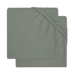 jollein Jersey Laufgitter Spannbettlaken 2er-Pack ash green 75x95 cm