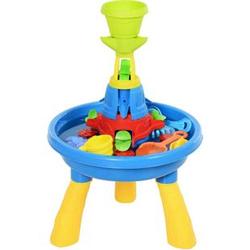 HOMCOM Kinder Sandkastentisch mit 21-tlg. Zubehör blau, gelb 46 x 46 x 72 cm   Sandspielzeug Kinderspieltisch Strandspielzeug