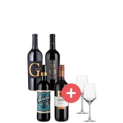 4er-Paket Rotwein + GRATIS Schott-Zwiesel Gläser - Weinpakete