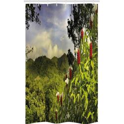 Abakuhaus Duschvorhang Badezimmer Deko Set aus Stoff mit Haken Breite 120 cm, Höhe 180 cm, Wald Landwirtschaftliche Landschaft Costa Rica
