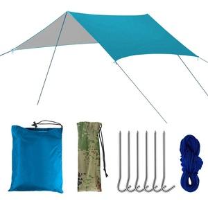 SZRWD Zeltplane, Tarp Hängematte, Sonnensegel, Hergestellt aus Wasserdichtem Polyestertuch, Doppelseitige Beschichtung, als Zelt für Sonnen- und Regenschutz, Matten für Picknicks(Ohne Stange) (Blau)