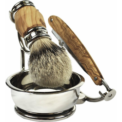Golddachs Rasierset, 4-tlg., mit Rasiermesser, Pinsel (Silberspitze) und Seifenschale